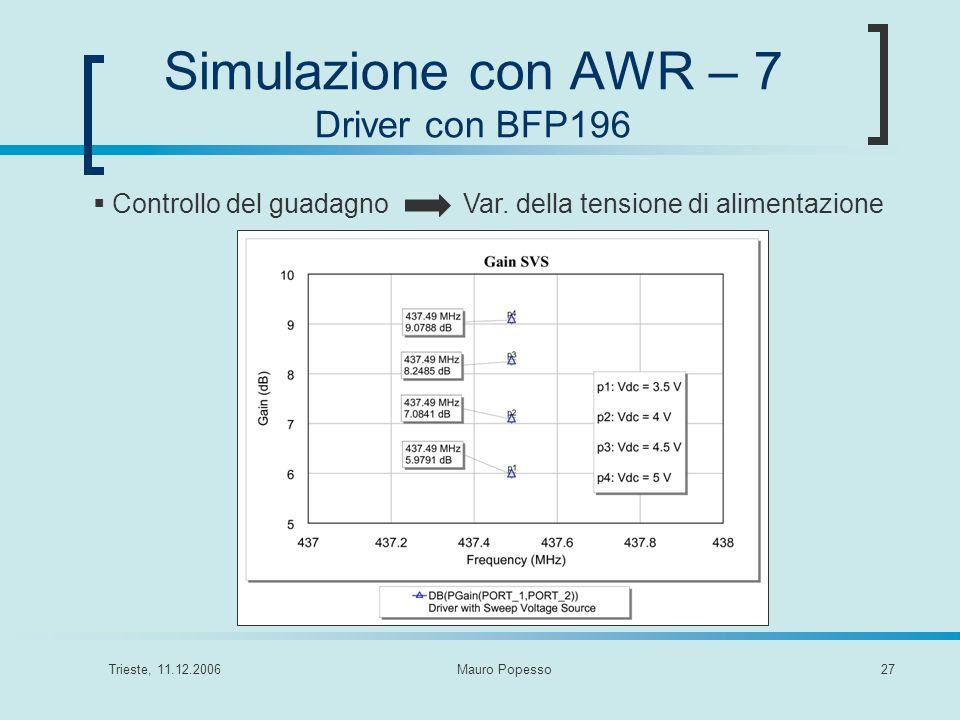 Simulazione con AWR – 7 Driver con BFP196