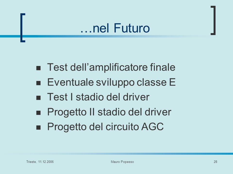 …nel Futuro Test dell'amplificatore finale Eventuale sviluppo classe E