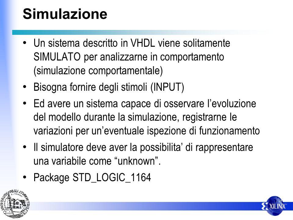 Simulazione Un sistema descritto in VHDL viene solitamente SIMULATO per analizzarne in comportamento (simulazione comportamentale)