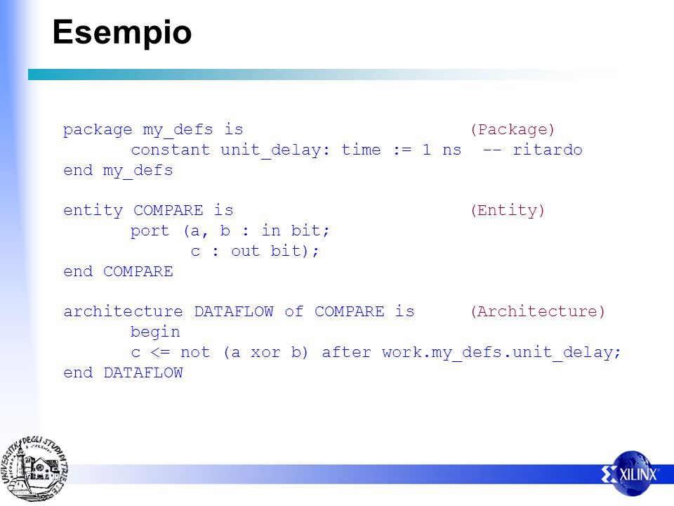 Esempio package my_defs is (Package)
