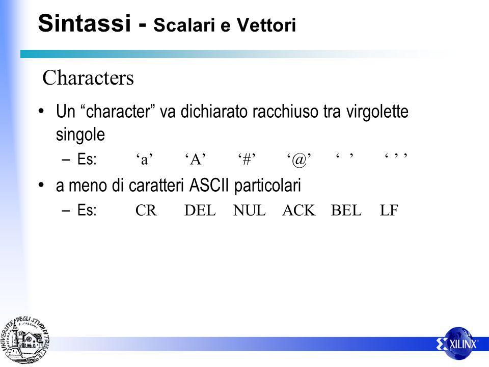 Sintassi - Scalari e Vettori