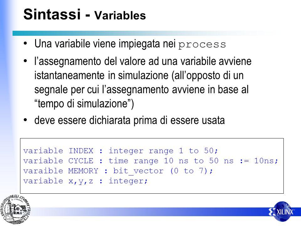Sintassi - Variables Una variabile viene impiegata nei process