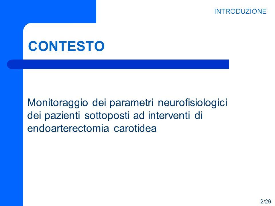 INTRODUZIONE CONTESTO. Monitoraggio dei parametri neurofisiologici dei pazienti sottoposti ad interventi di endoarterectomia carotidea.