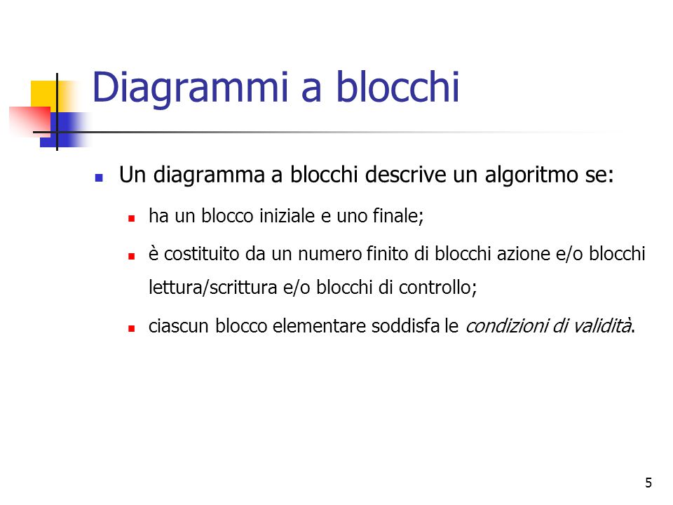 Diagrammi a blocchi Un diagramma a blocchi descrive un algoritmo se: