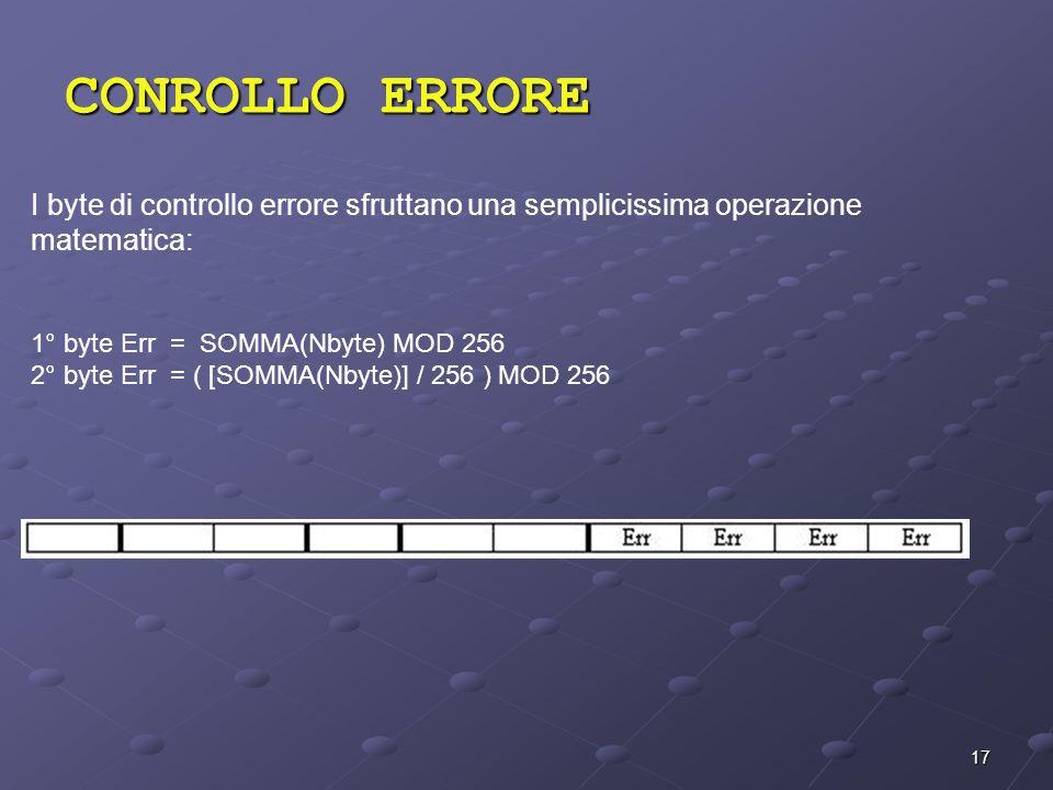 CONROLLO ERRORE I byte di controllo errore sfruttano una semplicissima operazione matematica: 1° byte Err = SOMMA(Nbyte) MOD 256.