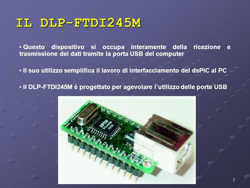 IL DLP-FTDI245MQuesto dispositivo si occupa interamente della ricezione e trasmissione dei dati tramite la porta USB del computer.