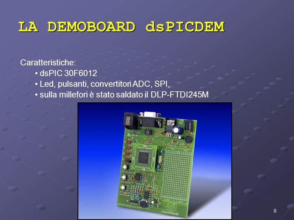 LA DEMOBOARD dsPICDEM Caratteristiche: dsPIC 30F6012