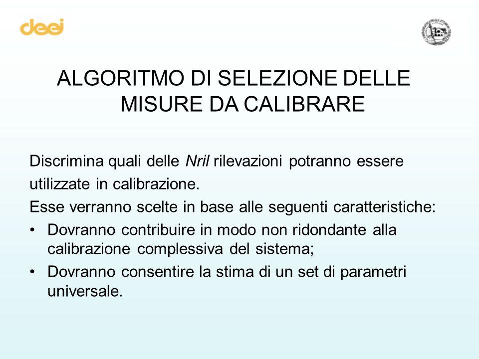 ALGORITMO DI SELEZIONE DELLE MISURE DA CALIBRARE