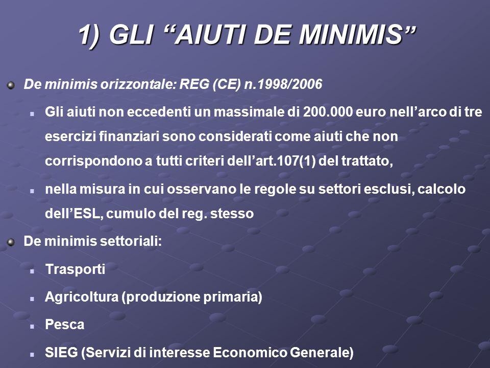 1) GLI AIUTI DE MINIMIS