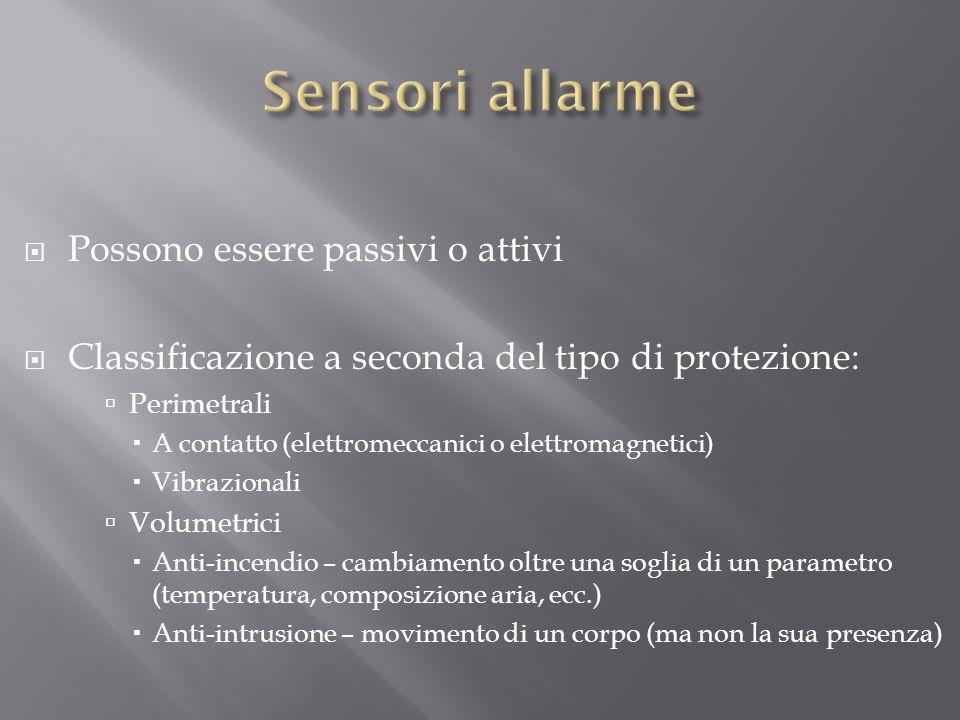 Sensori allarme Possono essere passivi o attivi