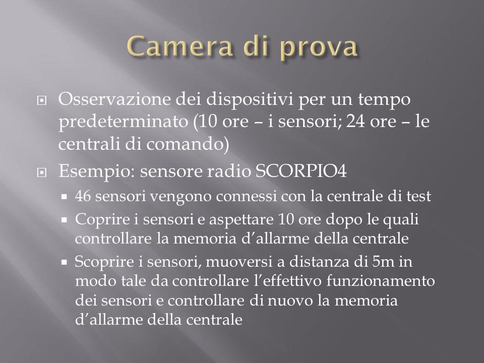 Camera di prova Osservazione dei dispositivi per un tempo predeterminato (10 ore – i sensori; 24 ore – le centrali di comando)