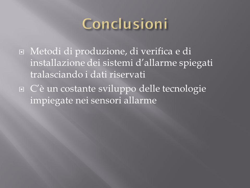 Conclusioni Metodi di produzione, di verifica e di installazione dei sistemi d'allarme spiegati tralasciando i dati riservati.