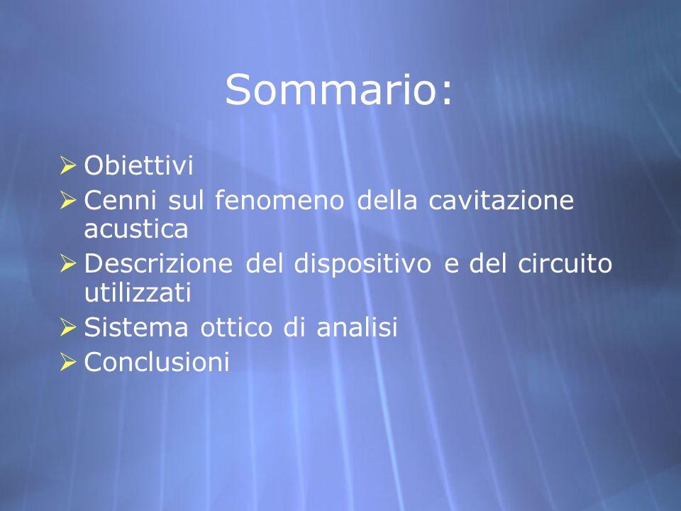 Sommario: Obiettivi Cenni sul fenomeno della cavitazione acustica