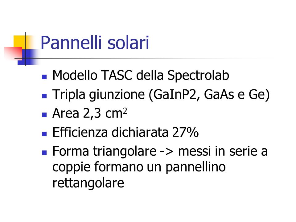 Pannelli solari Modello TASC della Spectrolab