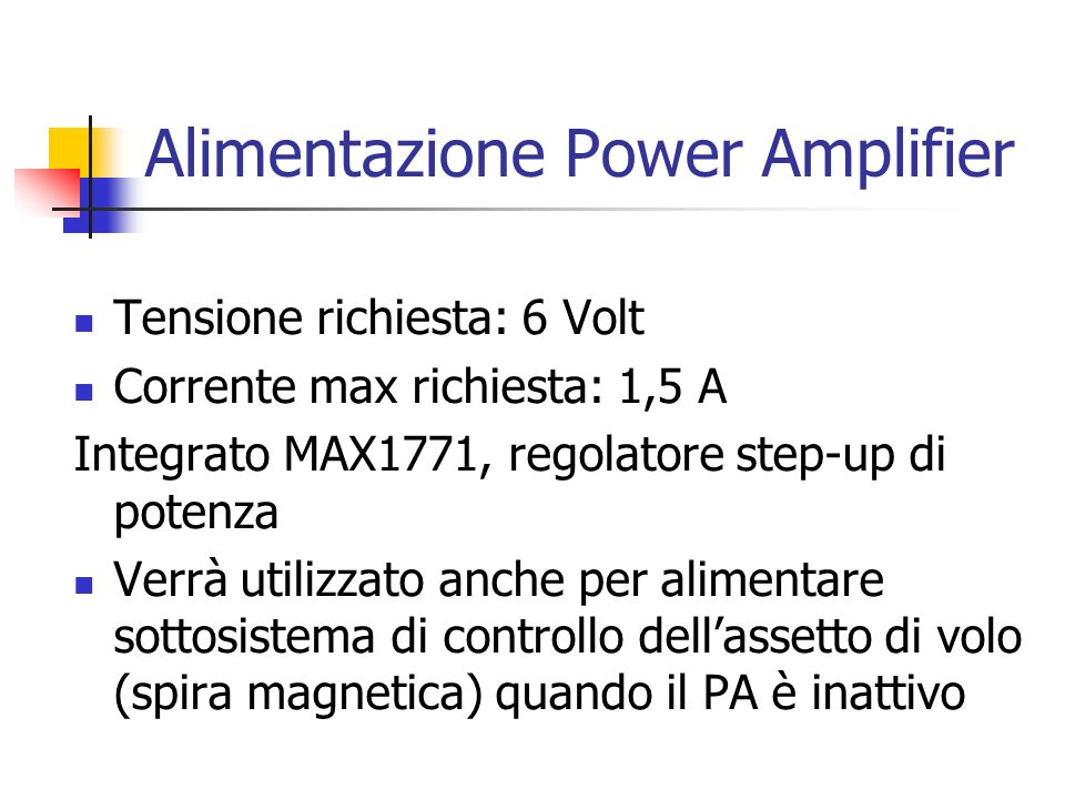 Alimentazione Power Amplifier