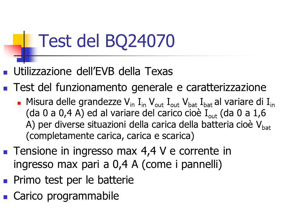 Test del BQ24070 Utilizzazione dell'EVB della Texas