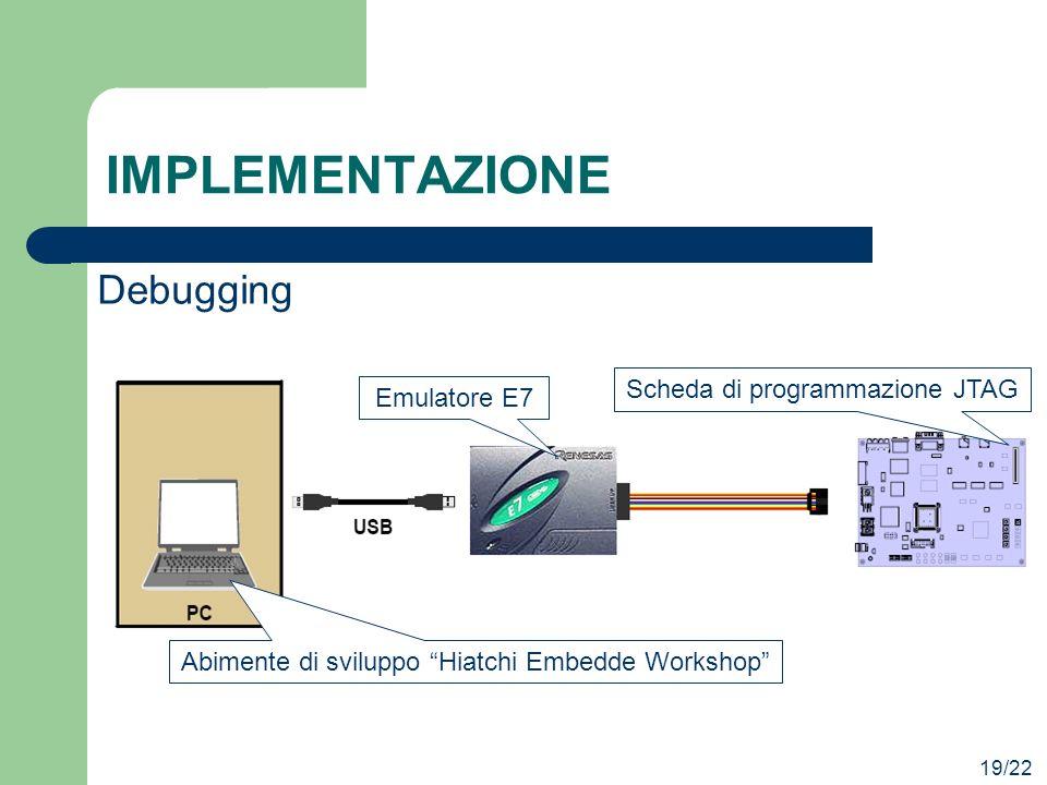 IMPLEMENTAZIONE Debugging Scheda di programmazione JTAG Emulatore E7