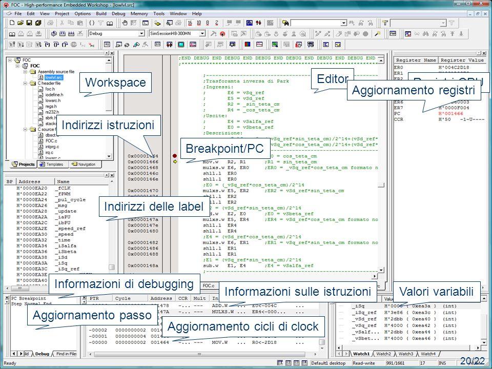 IMPLEMENTAZIONE Editor Workspace Registri CPU Aggiornamento registri