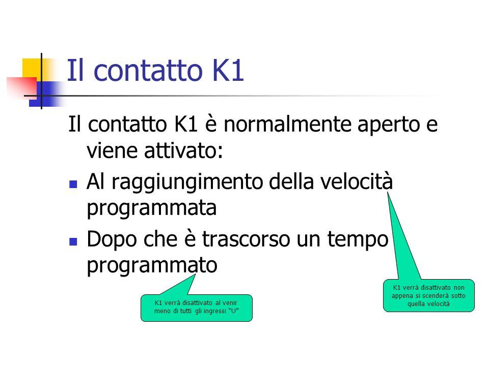 Il contatto K1 Il contatto K1 è normalmente aperto e viene attivato: