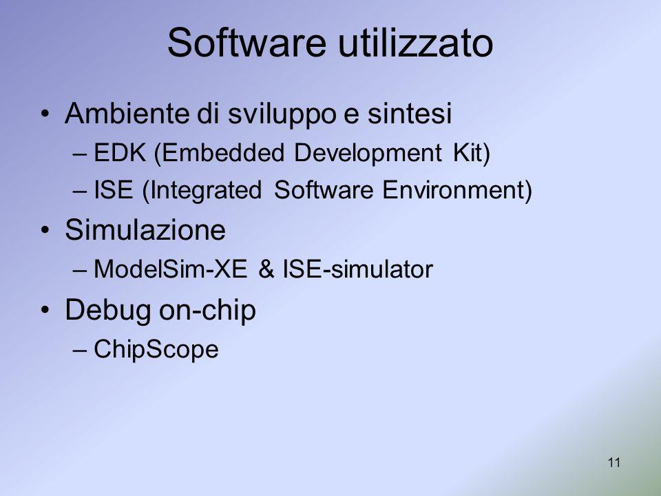 Software utilizzato Ambiente di sviluppo e sintesi Simulazione