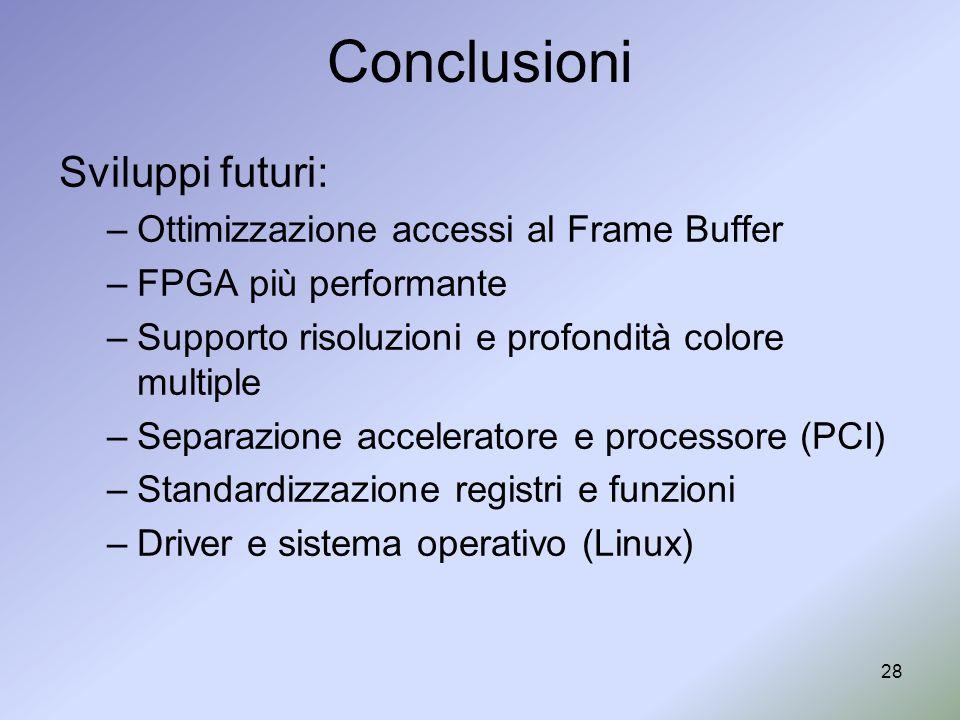 Conclusioni Sviluppi futuri: Ottimizzazione accessi al Frame Buffer