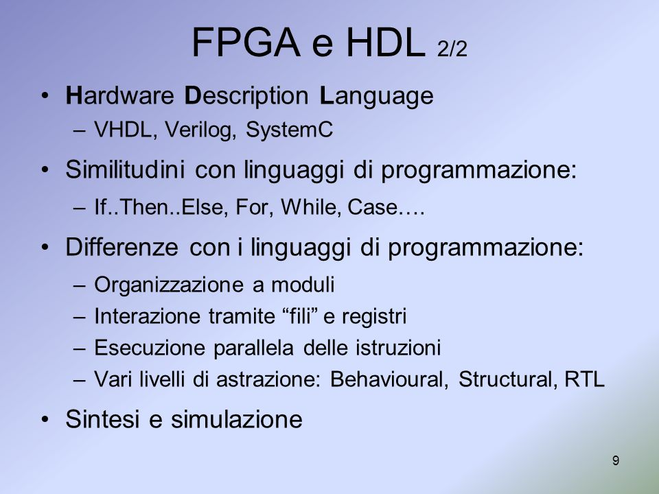 FPGA e HDL 2/2 Hardware Description Language