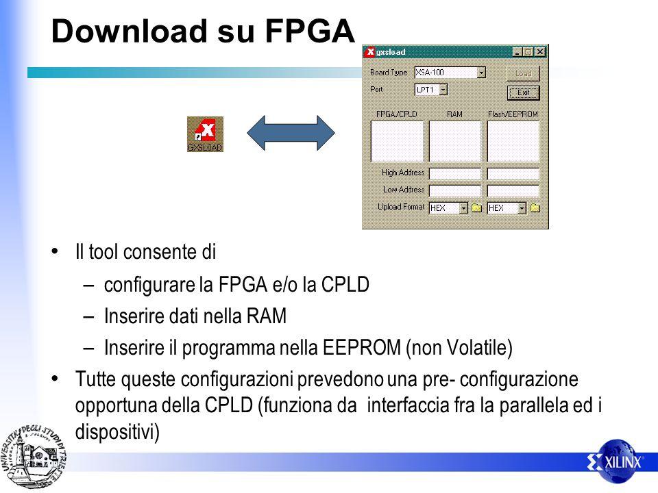 Download su FPGA Il tool consente di configurare la FPGA e/o la CPLD