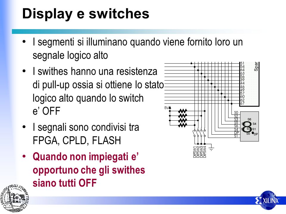 Display e switches I segmenti si illuminano quando viene fornito loro un segnale logico alto.