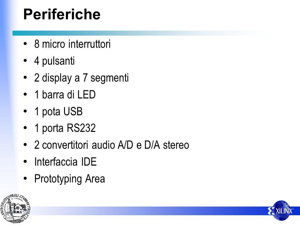 Periferiche 8 micro interruttori 4 pulsanti 2 display a 7 segmenti