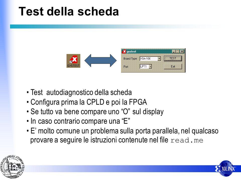 Test della scheda Test autodiagnostico della scheda