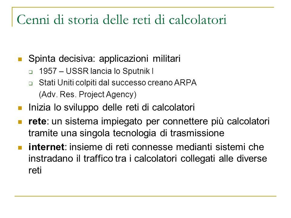 Cenni di storia delle reti di calcolatori