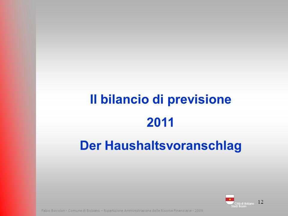 Il bilancio di previsione Der Haushaltsvoranschlag