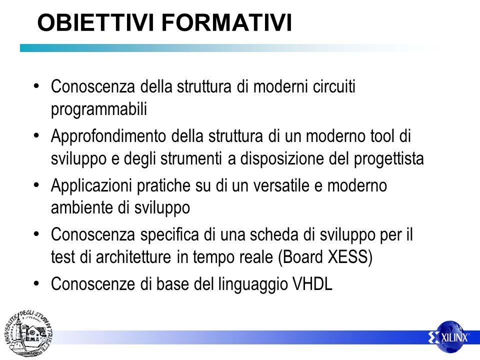 OBIETTIVI FORMATIVI Conoscenza della struttura di moderni circuiti programmabili.