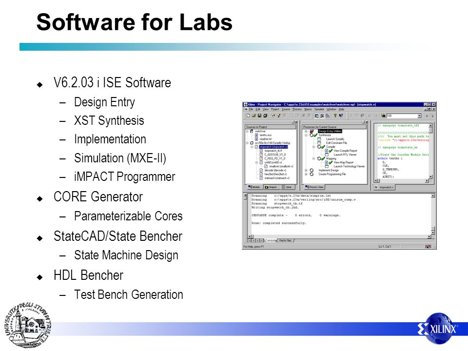 Software for Labs V6.2.03 i ISE Software CORE Generator