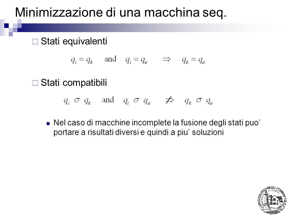 Minimizzazione di una macchina seq.