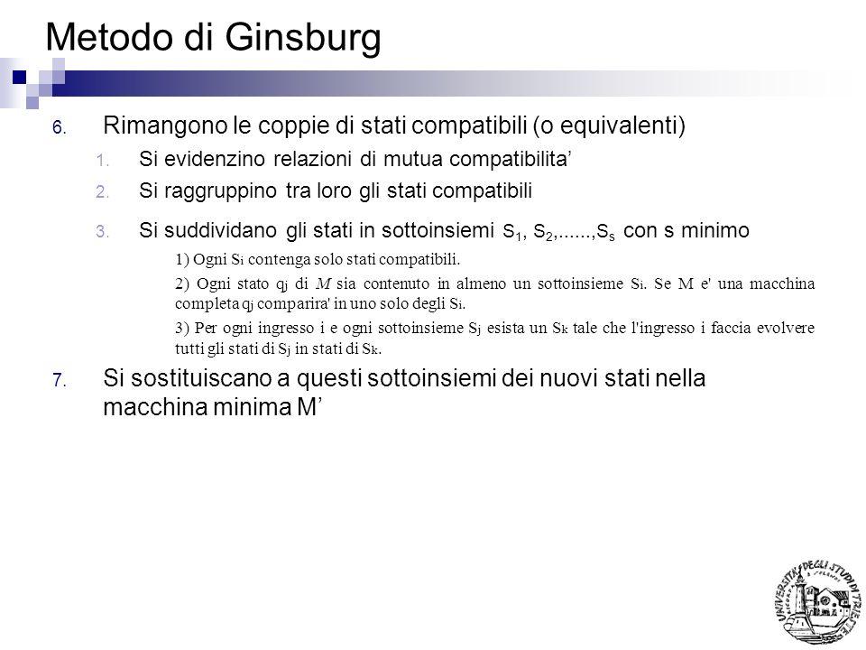 Metodo di Ginsburg Rimangono le coppie di stati compatibili (o equivalenti) Si evidenzino relazioni di mutua compatibilita'