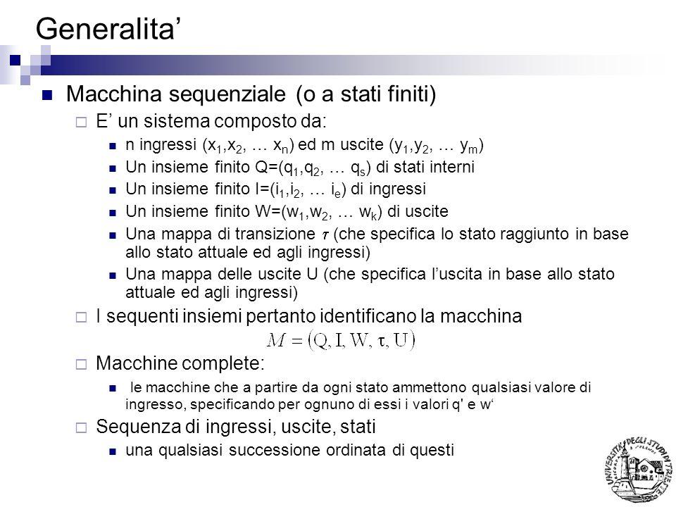 Generalita' Macchina sequenziale (o a stati finiti)