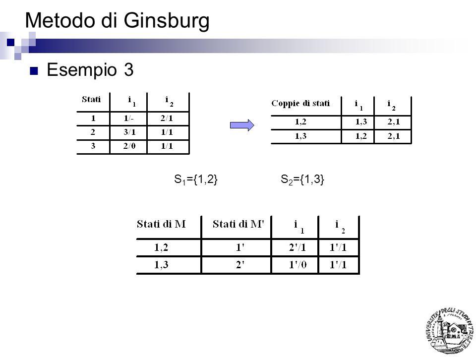 Metodo di Ginsburg Esempio 3 S1={1,2} S2={1,3}