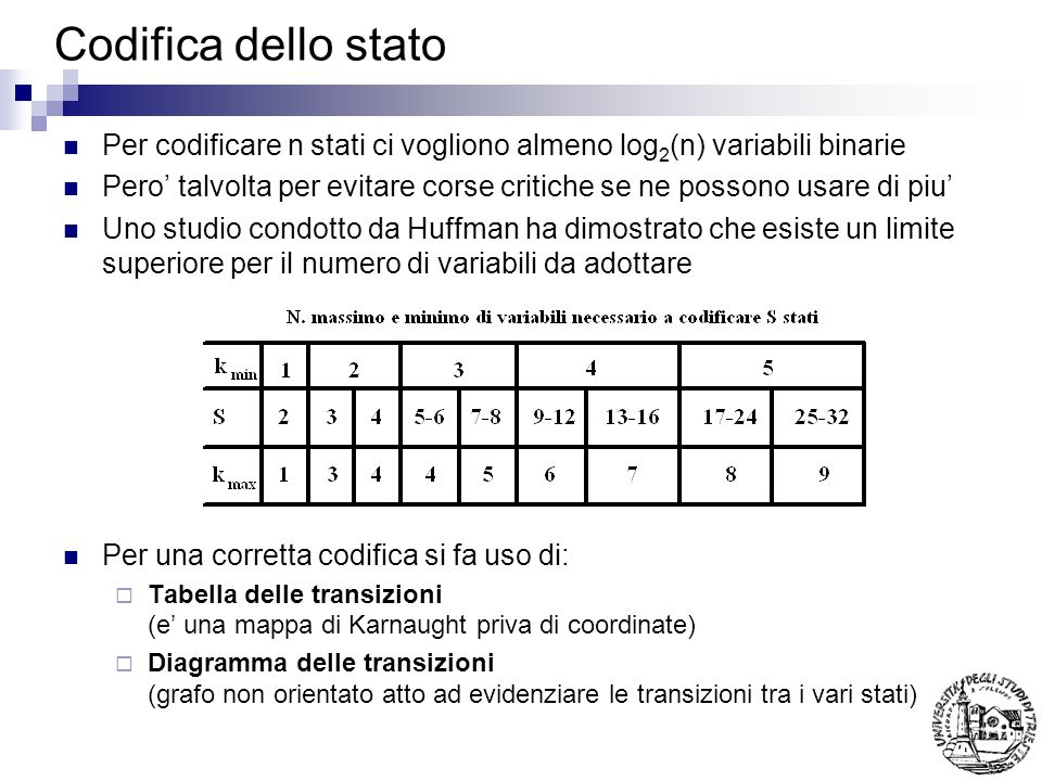 Codifica dello statoPer codificare n stati ci vogliono almeno log2(n) variabili binarie.
