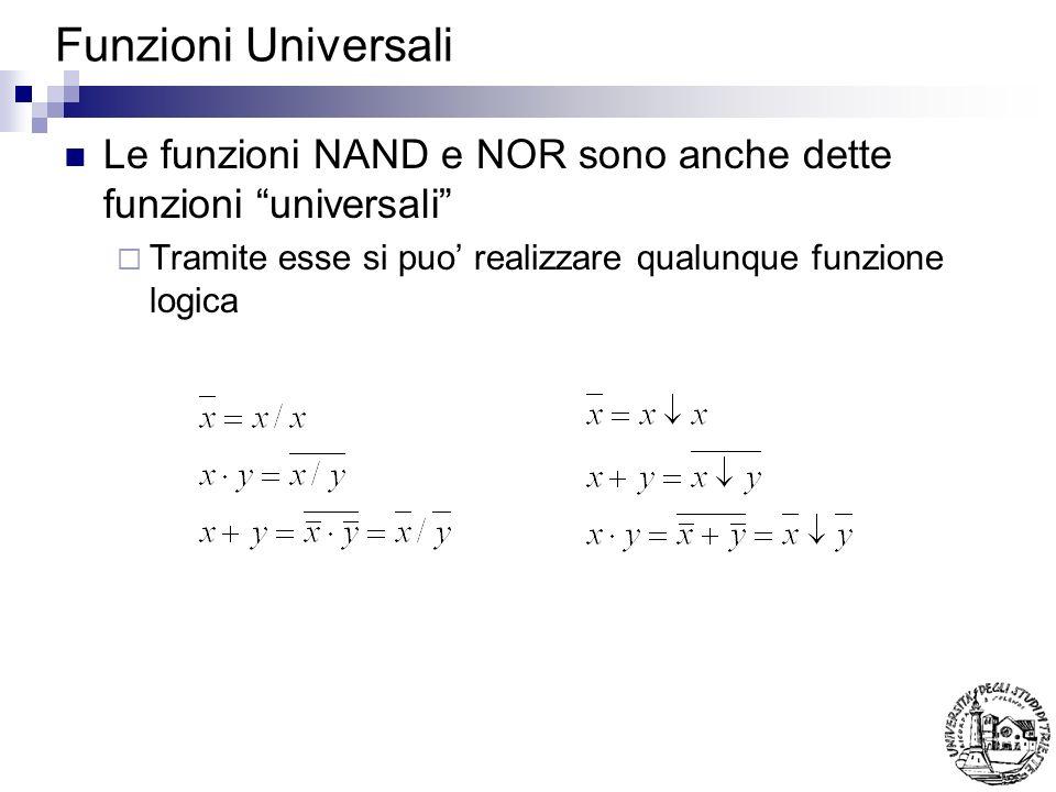 Funzioni Universali Le funzioni NAND e NOR sono anche dette funzioni universali Tramite esse si puo' realizzare qualunque funzione logica.