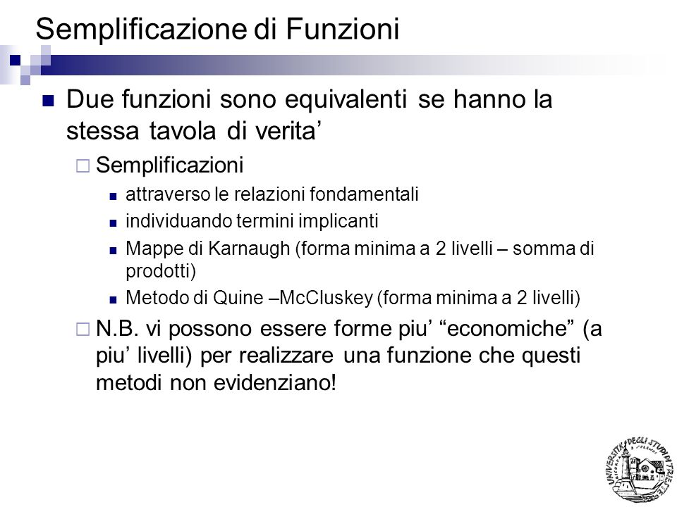 Semplificazione di Funzioni