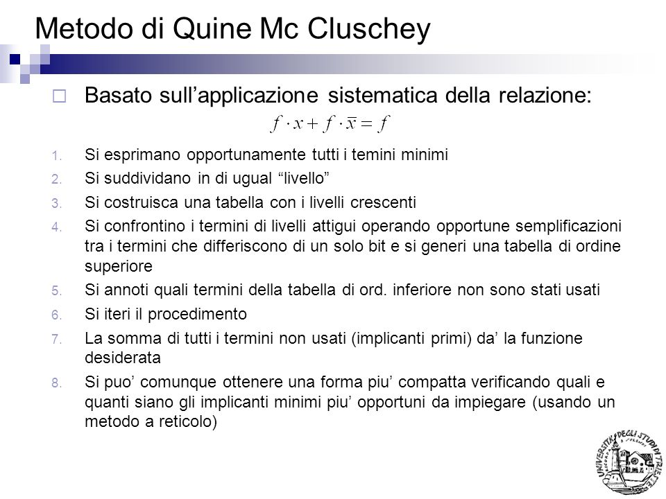 Metodo di Quine Mc Cluschey