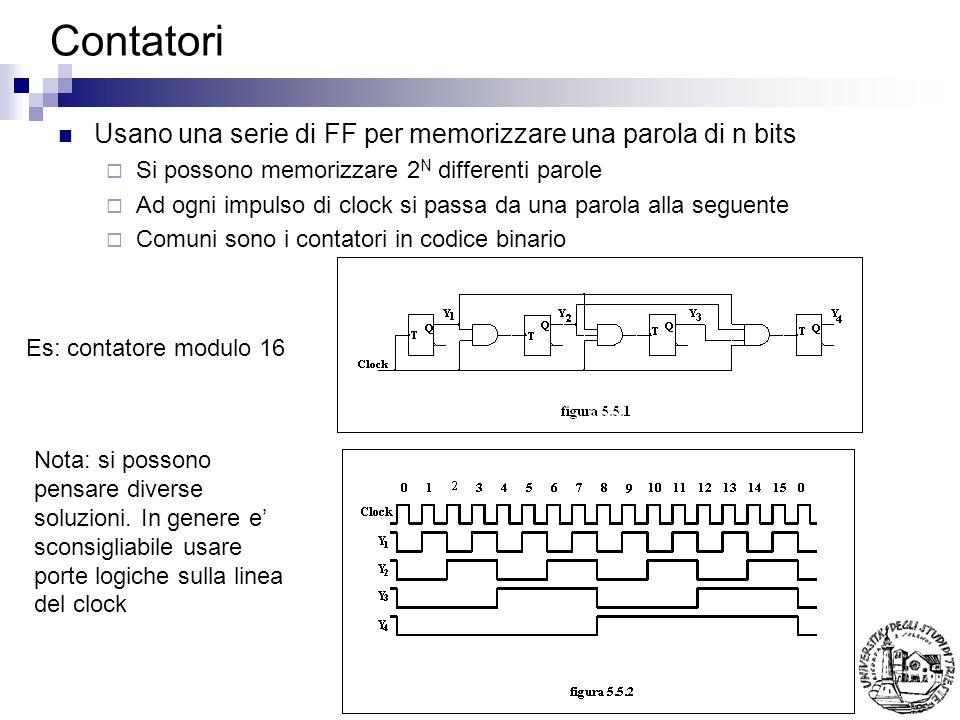 Contatori Usano una serie di FF per memorizzare una parola di n bits