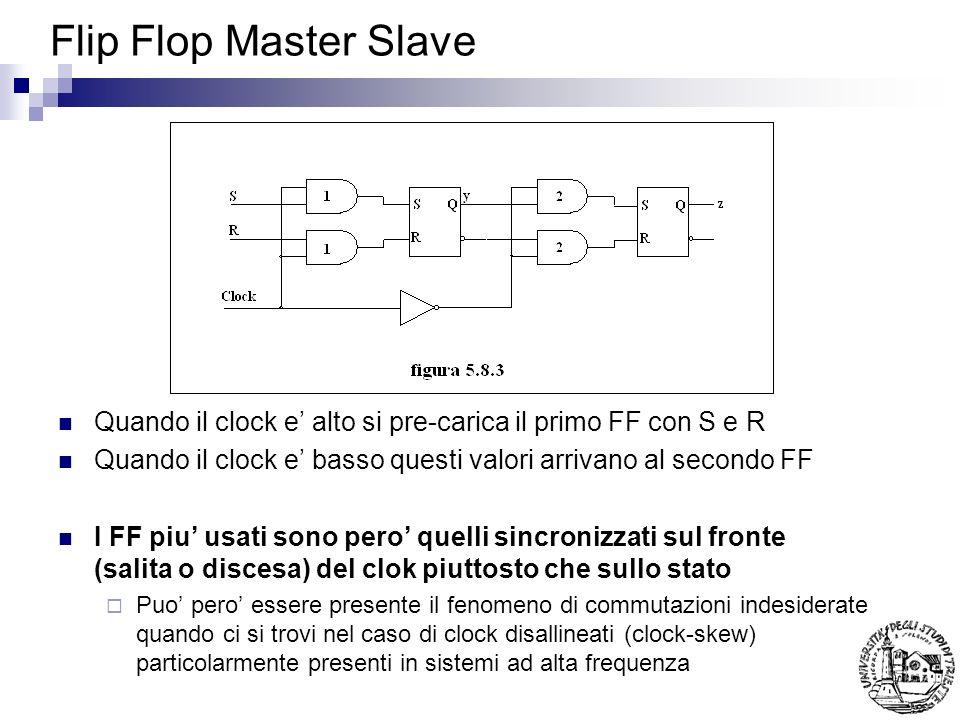 Flip Flop Master Slave Quando il clock e' alto si pre-carica il primo FF con S e R. Quando il clock e' basso questi valori arrivano al secondo FF.