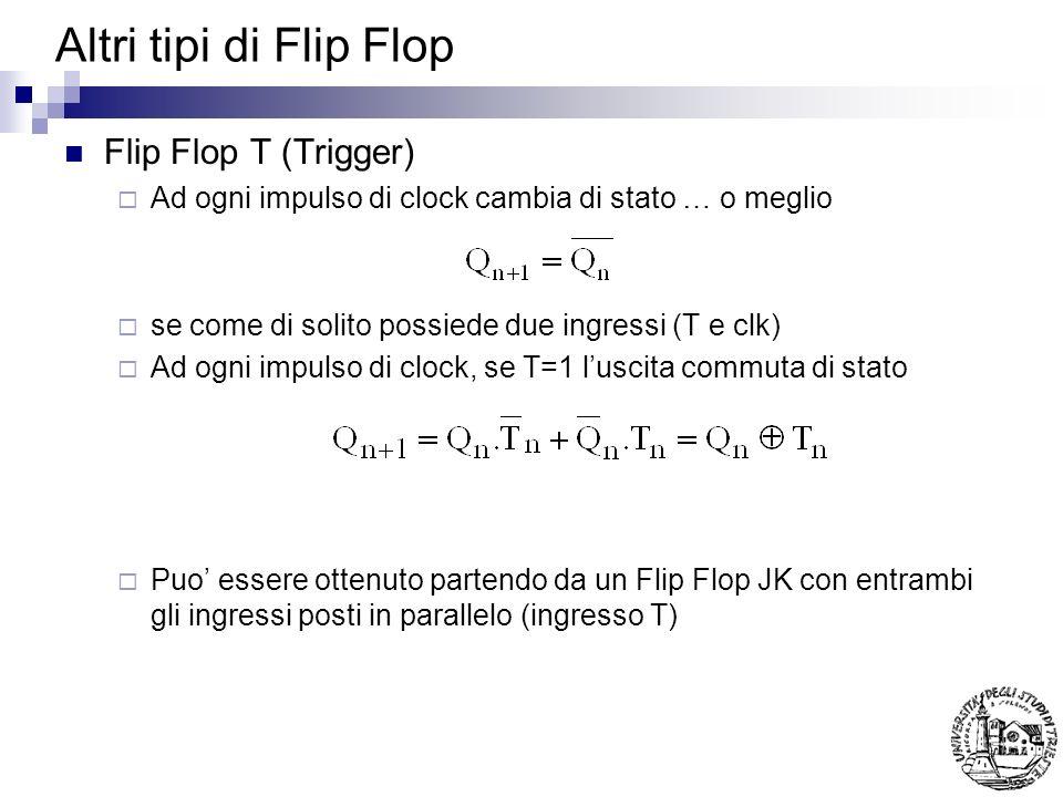 Altri tipi di Flip Flop Flip Flop T (Trigger)