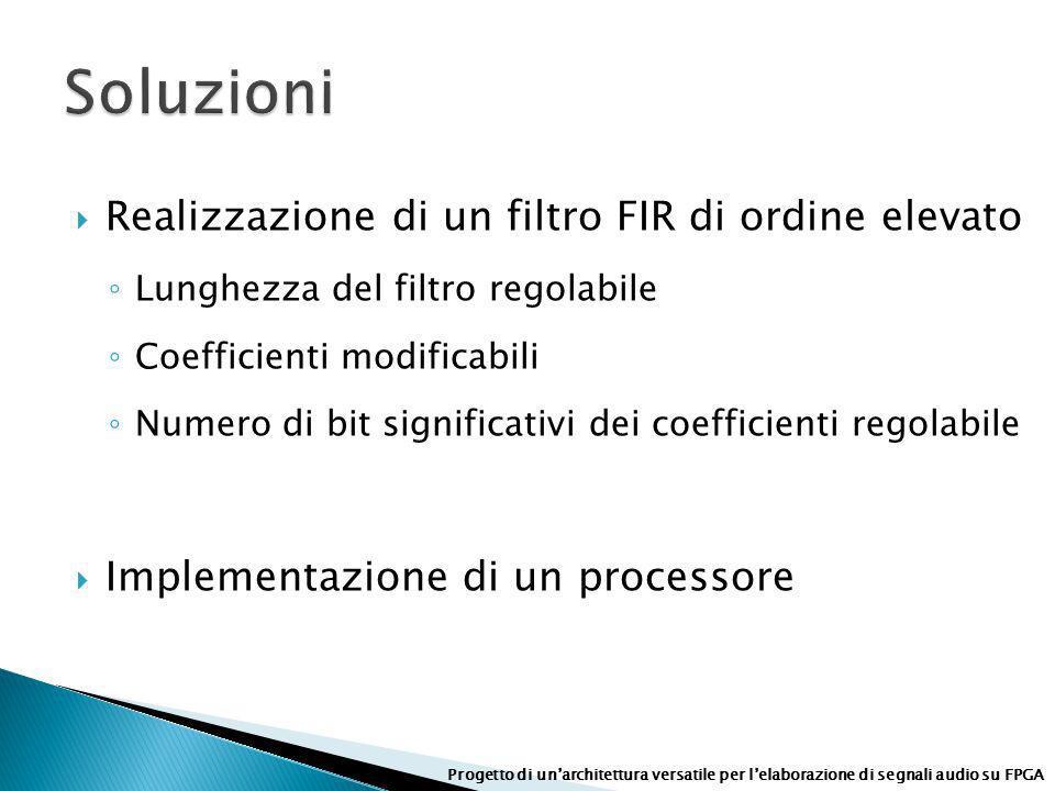 Soluzioni Realizzazione di un filtro FIR di ordine elevato