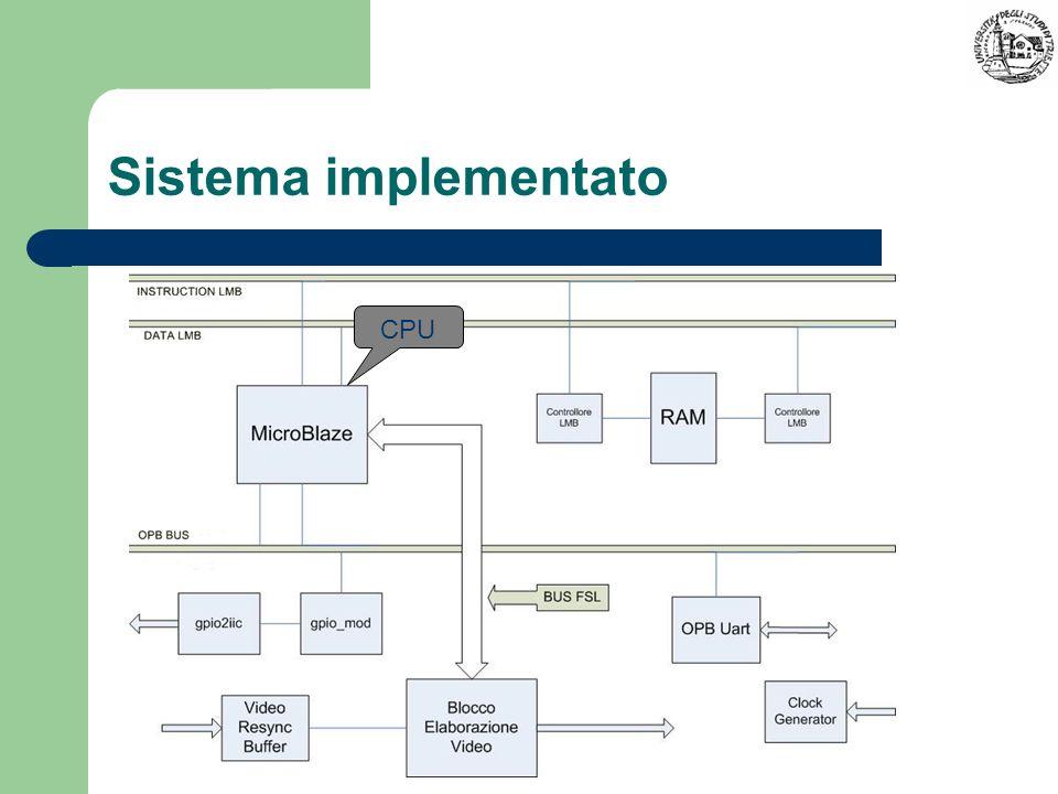 Sistema implementato CPU