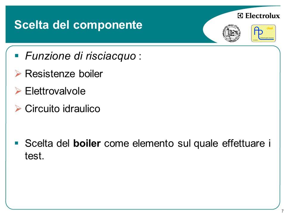 Scelta del componente Funzione di risciacquo : Resistenze boiler