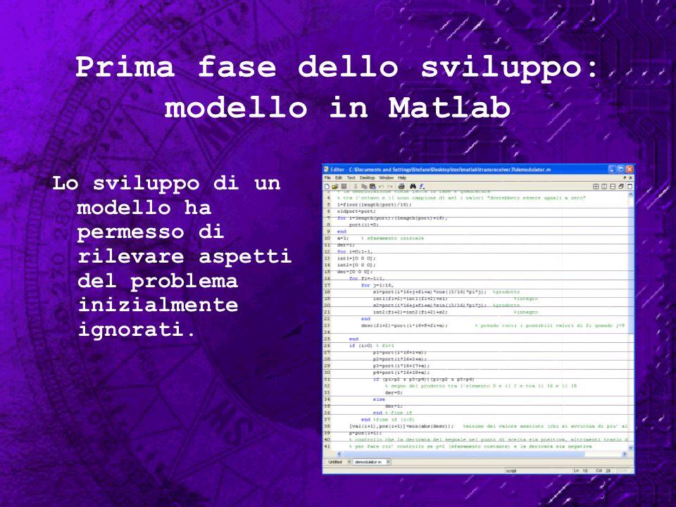 Prima fase dello sviluppo: modello in Matlab
