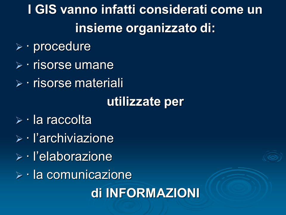 I GIS vanno infatti considerati come un insieme organizzato di: